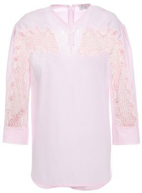 Sandro Erica Guipure Lace-trimmed Cotton-poplin Top