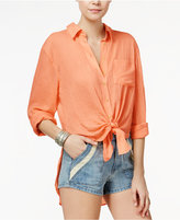 Free People That's A Wrap Tie-Front Shirt