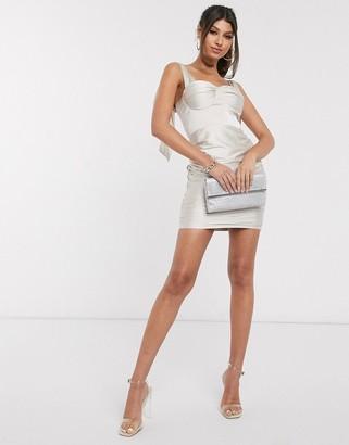 Rare London satin tie shoulder mini dress in champagne