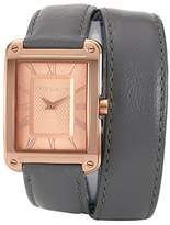 Vince Camuto Women's Quartz Watch with Rose Gold Dial Analogue Display and Grey Leather Strap VC/5032RGGY