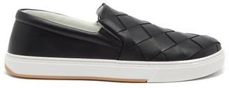 Bottega Veneta Intrecciato Leather Slip-on Trainers - Black