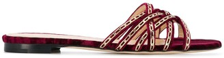 Chloé Gosselin Nina chain-trimmed velvet slippers