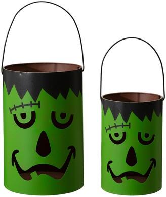 Glitzhome Halloween Metal Frankenstein Bucket, Set of 2
