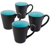 Gibson Shangri-La Court Turquoise Set of 4 Mugs
