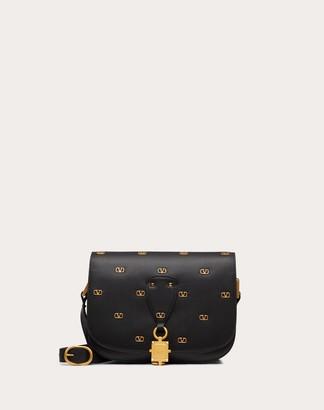 Valentino Vlocker Calfskin Crossbody Bag With Mini Metal Logos Women Black 100% Pelle Di Vitello - Bos Taurus OneSize
