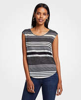 Ann Taylor Striped Linen Scoop Neck Tee
