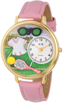 Whimsical Watches Tennis Female Pink Leather and Goldtone Unisex Quartz Watch with White Dial Analogue Display and Multicolour Leather Strap G-0810008