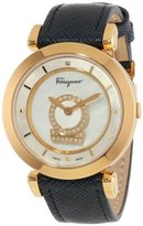Salvatore Ferragamo Women's Minuetto Diamond-Accented Gold Ion-Plated Watch with Blue Leather Band