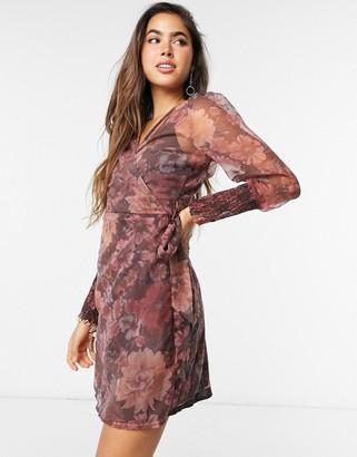 Vero Moda organza wrap dress with volume sleeves in purple floral