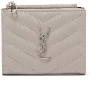 Saint Laurent monogram Quilted-leather Wallet - Womens - Light Grey