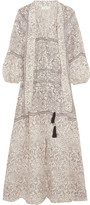 Zimmermann Caravan Pussy-bow Printed Linen Dress - Stone
