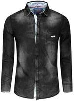 Dreamtao Long Sleeve Mens Denim Shirt 100% Cotton Casual Dress Jean Shirts