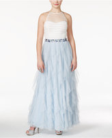 Teeze Me Juniors' Glittered Colorblocked Ruffled Gown