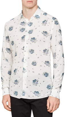 Reiss Phoenix Slim Fit Floral Print Button-Up Shirt
