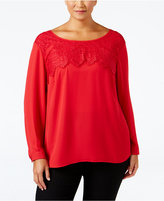 NY Collection Plus Size Lace-Up Blouse