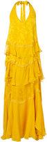 Roberto Cavalli jacquard ruffle long dress