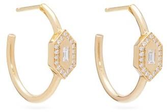 Azlee - 18kt Gold & Diamond Hoop Earrings - Womens - Gold