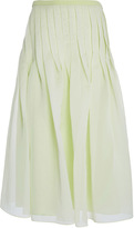 Tibi Celery Isa Organza Pleated Skirt