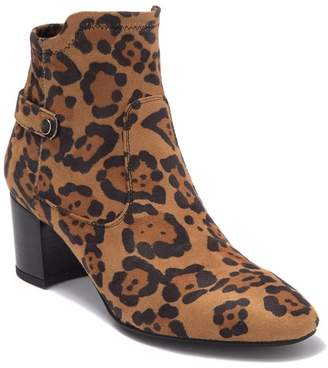 Franco Sarto Nastasia Leopard Printed Stacked Heel Bootie