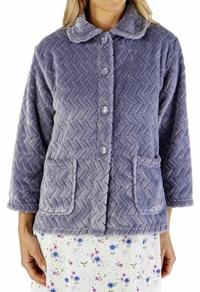 "Slenderella Ladies 3/4 Sleeve 25"" Soft Grey Fleece Large Button Up Bed Jacket with Two Patch Pockets Medium 12 14"