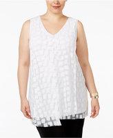 Alfani Plus Size Draped Burnout Blouse, Only at Macy's