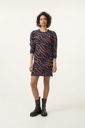 Gestuz Zeba Dress - S | organic cotton | blue | brown - Blue/Blue