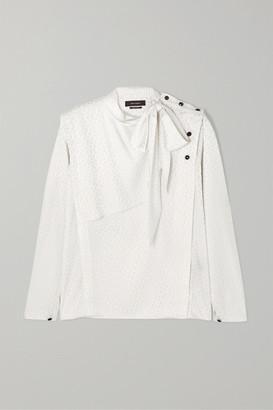 Isabel Marant Saki Pussy-bow Polka-dot Silk-blend Jacquard Blouse - White