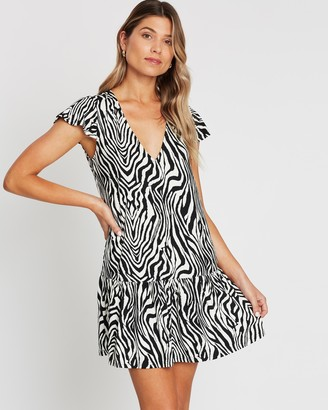 Atmos & Here Riley Ruched V Neck Dress