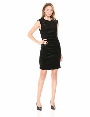 Nicole Miller Women's Corduroy Sleeveless Tucked Dress
