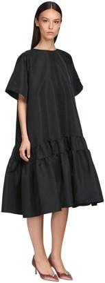 Rochas Ruffled Faille Midi Dress
