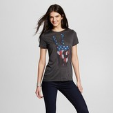 L.O.L. Vintage Women's Americana Peace Hand Graphic Tee Heather Charcoal