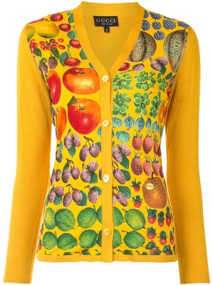 Gucci Pre Owned fruit print V-neck cardigan