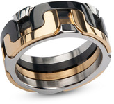 Zales Men's 9.5mm Interlocking Wedding Band in Tri-Tone Stainless Steel