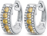 FINE JEWELRY 1/2 White And Color Enhanced Yellow Diamond White Gold Hoop Earring