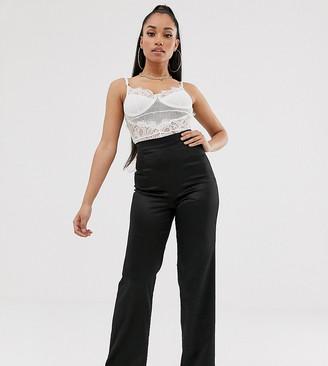 Club L London Petite satin wide leg trouser in black