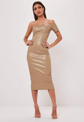 Missguided Stone Faux Leather One Shoulder Midaxi Dress