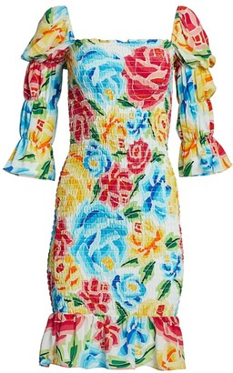 All Things Mochi Mariana Shirred Silk Dress