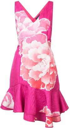 Josie Natori Peony Print Ruffle Trim Dress