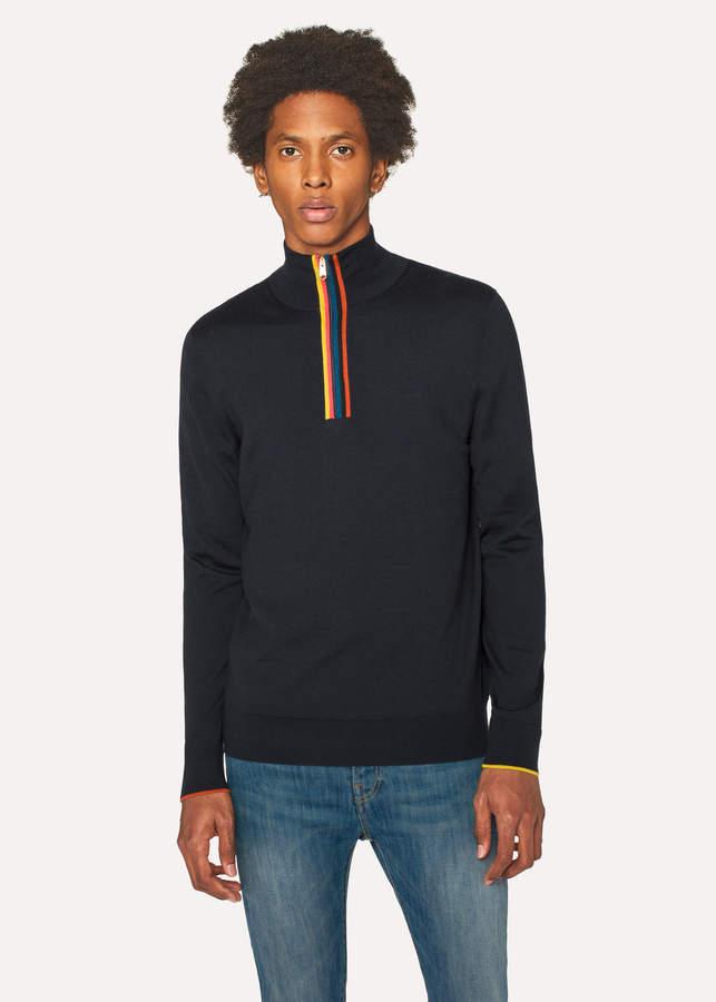 Paul Smith Men's Dark Navy 'Artist Stripe' Funnel Neck Wool Half-Zip Sweater