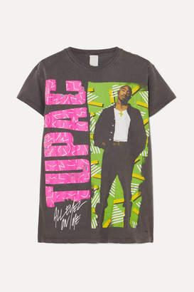 MadeWorn Tupac Distressed Printed Cotton-jersey T-shirt - Black