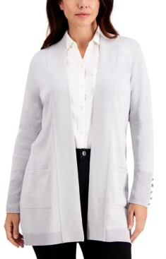JM Collection Petite Button Sleeve Flyaway Cardigan, Created for Macy's