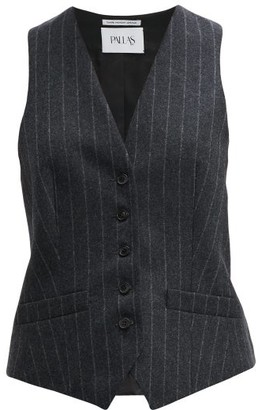 Pallas X Claire Thomson-jonville - Chalk-striped Wool Waistcoat - Womens - Grey Multi