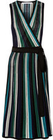 Diane von Furstenberg Cadenza Metallic Stretch-knit Wrap Dress - Blue