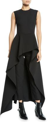SOLACE London Soraya Sleeveless Crepe Asymmetric Ruffle Jumpsuit