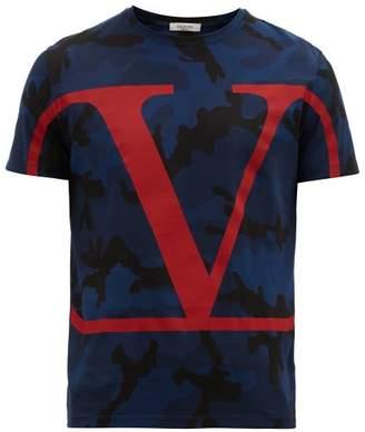 Valentino V-logo Camo-print Cotton T-shirt - Mens - Navy