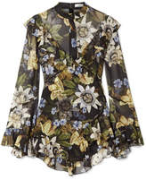 Erdem Wanda Asymmetric Ruffled Floral-print Silk-chiffon Blouse - Black