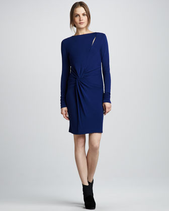 Halston Twist-Front Long-Sleeve Dress
