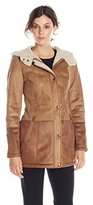 Jessica Simpson Women's Faux Shearling Coat with Hood