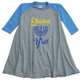 Urban Smalls Heather Blue & Gray 'Shalom' Raglan Swing Dress - Toddler & Girls