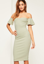 Missguided Green Bardot Bodycon Midi Dress